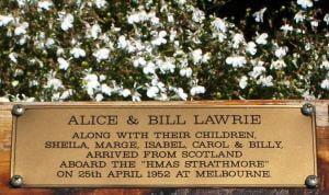 Lawrie Family Plaque