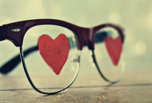Glasses with love hearts in the center