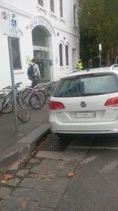 Bisabled Parking Bay with bike racks