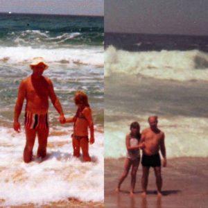 Amanda with her dad knee high in the ocean