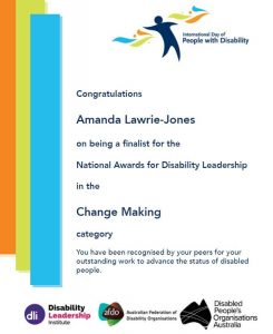 Finalist certificate for the National Disability Leadership Awards