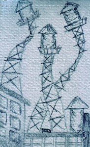 Sketch of water towers