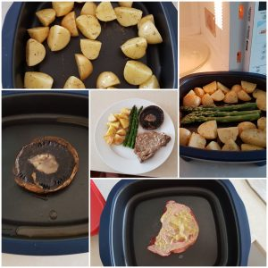 Tupperware MicroGrill with mushroom, asparagus, potato and steak